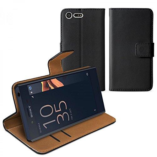 eFabrik Schutztasche für Sony Xperia X Compact Tasche schwarz (nur für Xperia X COMPACT) Schutzhülle Aufstellfunktion Fächer Booksyle Case