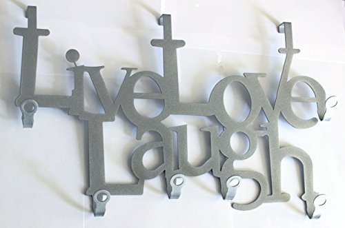 garderobe silber steelprint.de Live Love Laugh - Türgarderobe - Tür-Garderoben-Haken - Lebe Liebe Lache (Silber)