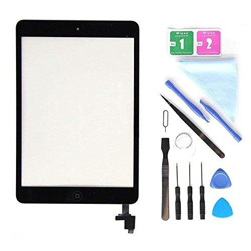 E Soul Für 7.9 Inch Schwarz iPad mini 1 2 Touchscreen Digitizer Ersatz Glas Display Bildschirm mit IC Chip + Home Button + Kamera Halterung + Klebesticker + Werkzeug