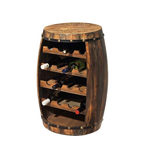 """Weinregal / Flaschenregal \""""Weinfass\"""" klein, aus Tannenholz, für 16 Flaschen - H 75 x B 50 x T 50 cm"""