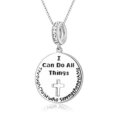 Christmas Gifts 925 Sterling Silber Anhänger Halskette I Can Do All Things Through Christ Who Stärken Me Religion Schmuck 45,7 cm Kette