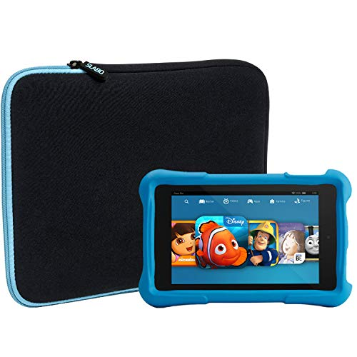 Slabo Tablet Tasche Schutzhülle für Amazon Fire HD 8 Kids Edition (7. Generation - 2017) Hülle Etui Case Phablet aus Neopren - TÜRKIS/SCHWARZ