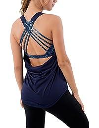 Queenie Ke Mujer 2 en 1 Yoga sin mangas del chaleco sin espalda Camisas Tank Tops