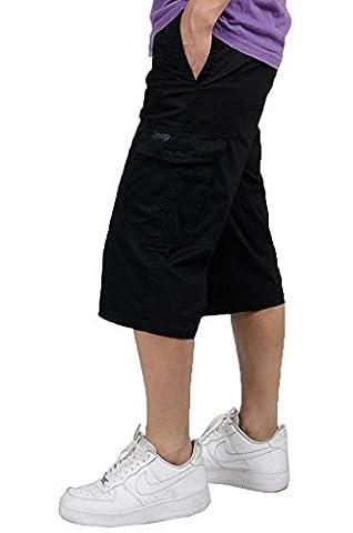 Herren zuzüglich Size lässig zugeschnitten Hosen Kurzschlüsse Beach Baumwolle Fett man lose Hose schwarz 4XL