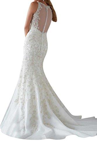 Luxurioes Brautkleid Rundkragen Spitze und Tüll in Weiß - 2