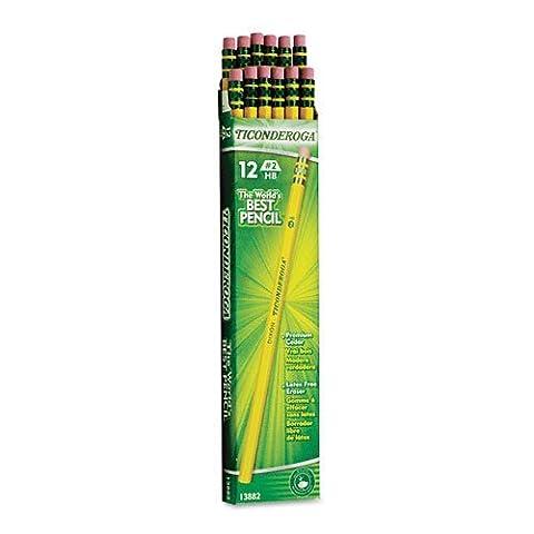 Dixon Ticonderoga Woodcase Pencil, HB # 2, Jaune barrel-12ct, 2PK