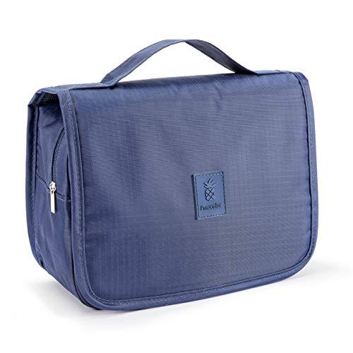 PINACOLOR Kulturbeutel zum Aufhängen, Reise-Kulturtasche für Kosmetik Medikamente etc.   mittelgroß 3,5 Liter   wasserabweisend mit Metallhaken und robusten Reißverschlüssen   Blau
