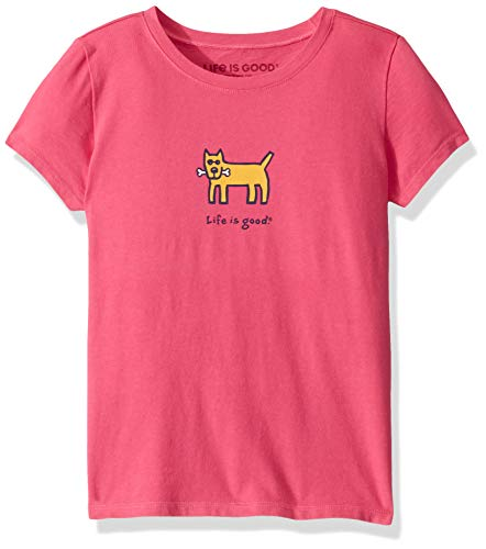 Life Is Good Girls Vintage Graphic T-Shirts Collection,Dog and Bone,Fiesta  Pink,Small