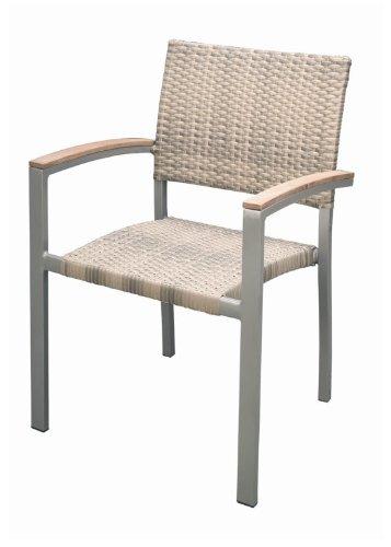 Konway&Nösinger Premium Rattan Garten Sessel mit Teak Armlehnen