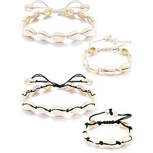 meekoo 4 Stücke Schale Halskette und Armband Handgefertigt Gewebt Verstellbare Boho Schlüsselbein Sommer See Strand Halsband für Damen Mädchen