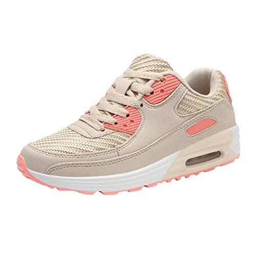 Saihui Damen Schnürschuhe Bequem Turnschuhe Mesh Air Laufschuhe Fitnessschuhe Atmungsaktiv Running Bequem Sneakers Straßenlaufschuhe (EU:39, Orange)