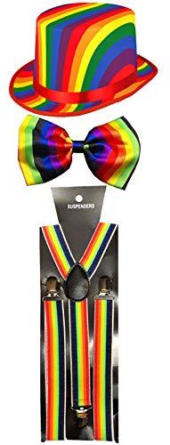 er Hut Fliege Hosenträger Regenbogen Gay Pride Fancy Dress Party Set ()