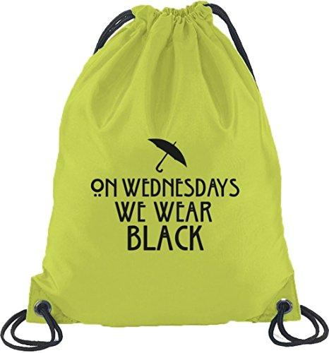 Shirtstreet24, AHS - On Wednesdays, Turnbeutel Rucksack Sport Beutel Limone