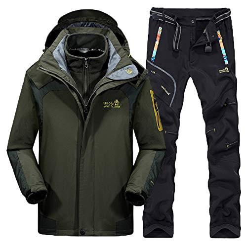 Herren Skianzüge Winter Thicken Warmhalten Outdoor Bergsteigen Anzug Furnier Double Board Jacken, rot, XXL