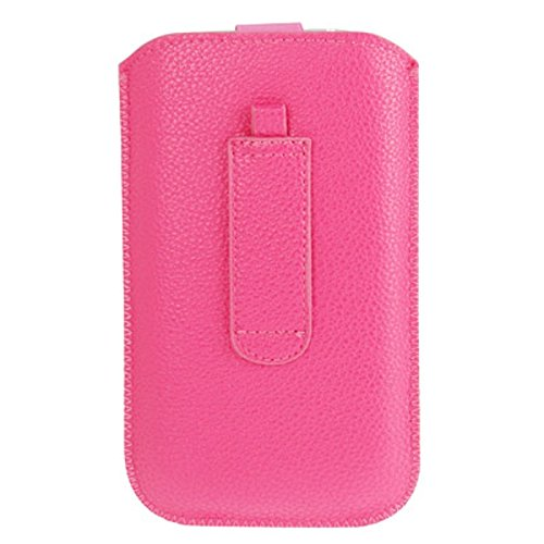DFV mobile® - Pouch Case Lines Embossing & Belt Loop & Pull Tab Velcro for =>      APPLE IPHONE 5 / 5S > Pink Pink