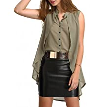 POISON IVY Women's Casual-elegant chiffon layered Sleeveless blouse,Elegant retro High-Low Wine/Olive Top Women shirt