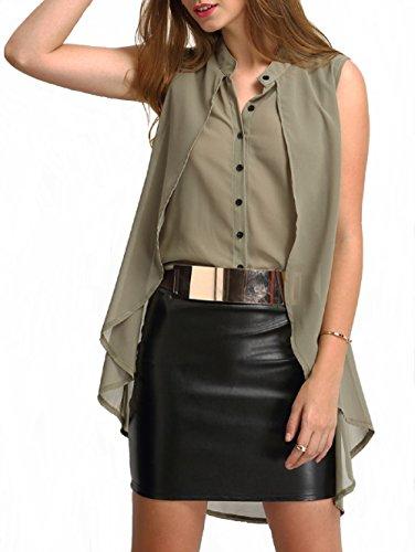 POISON IVY Women's Casual-Elegant Chiffon Layered Sleeveless Blouse,Elegant Retro High-Low Wine/Olive Top (Olive Green, Medium)