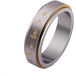 YAZILIND anillos de acero de titanio Letras amarillo suerte banda Buda tamaño tamaño opcional 22, 5