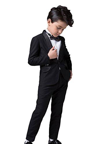 Icegrey Jungen Schwarzes Smoking für Hochzeiten, Proms, Kreuzfahrten 2-12 Schwarz 4 Jahre (Husky Jungen Anzug)