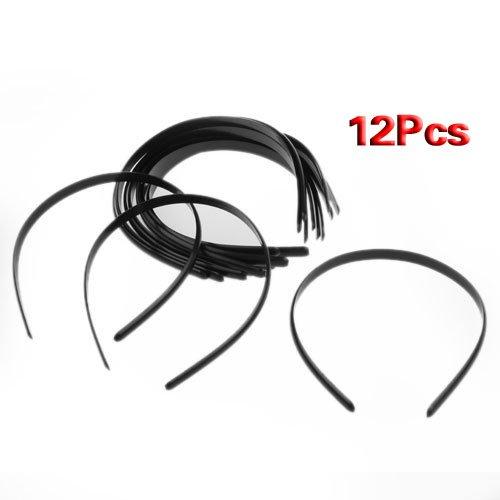 SODIAL(R) 12x 10mm Bijoux Bandeau en Plastique Noir Accessoires des Cheveux