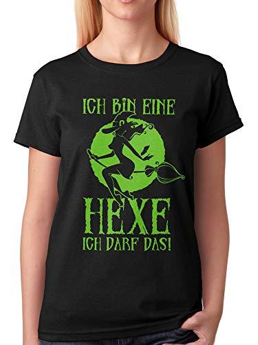 vanVerden Damen Unisex T-Shirt Ich Bin eine Hexe ich darf Das! Halloween Shirt, Größe:5XL, Farbe:Schwarz/Grün