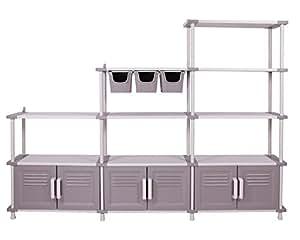 modulares regalsystem freedom schwerlastregale mit t ren und aufbewahrungsboxen garten. Black Bedroom Furniture Sets. Home Design Ideas