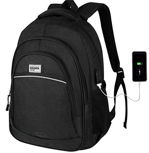 Laptop Rucksack,KUSOOFA Schule Rucksack 15,6 Zoll Business Rucksack mit USB-Ladeanschluss,Schulrucksack Laptoprucksack für Herren Jungen(Schwarz)