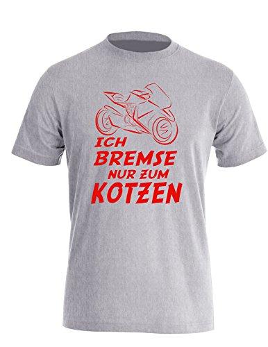Ich Bremse nur zum Kotzen - Herren Rundhals T-Shirt Grau/Rot