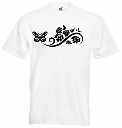 T-Shirt D147 T-Shirt Herren schwarz mit farbigem Brustaufdruck - Tribal Schmetterling mit Punkten Mehrfarbig