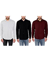 Solid Party Wear 3 Shirts Combo For Men By Mark Pollo London (Black,Mehrun,White)- Small