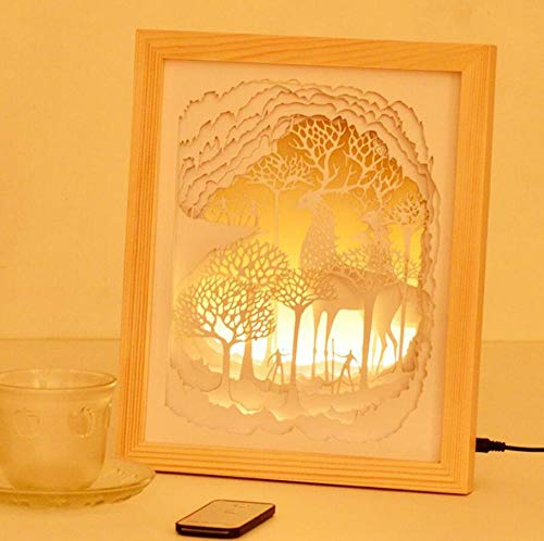 Forest Animals Paper Carving Lampe Fantastisches Weiches Licht Licht Und Schatten Paper-Cut Nachttischlampe Einstellbare Atmosphäre Tischlampe 31X23.5X6Cm, C, C