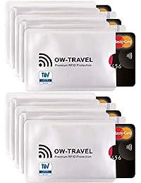 ✅ Bloqueo RFID - ANTI FRAUDE - Protectores para Tarjetas de Crédito Débito Sanitaria Identificaciones - Protector Pasaporte - Protección 100% de RFID & NFC (Fundas para Tarjeta de Crédito 10)