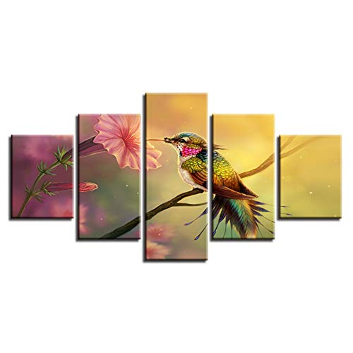EXQART Leinwand -Druck -Plakat -Wand -Kunst - Ausgangsdekor 5 Stück Hummingbird sammeln Nektar Gemälde Fantasie -Blumen - Bilder(12x16 12x24 12x32inch)
