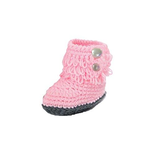 Saingace® Krabbelschuhe boots,Baby Crochet Handgemachte Knit Hoch-Spitze Hohe Stiefel Schuhe Rosa