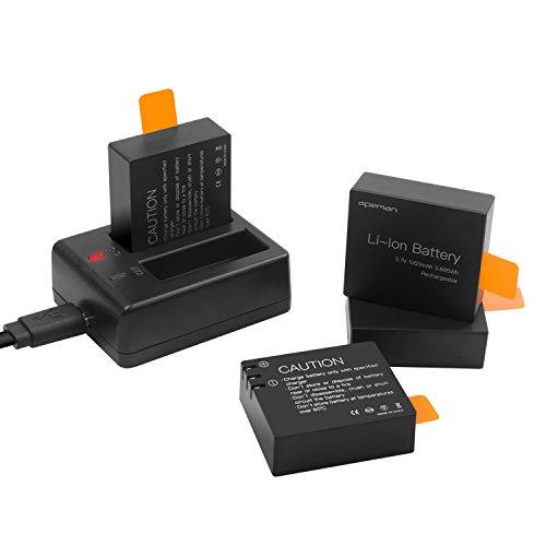 APEMAN Caméra de Sport Batterie Rechargeable 1050mAh 4 Pack Chargeur de batterie USB pour Apeman Caméra d'action A60 / A66 / A70 / A80