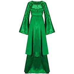 Wolfleague Femmes Robe Medievale A Manches Longues Robe Vintage Adulte Flare Manches Deguisement Robe Col Carre Lace Epaule Nu Robe De Soiree S~XXL