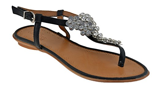 Total Lookers 60829 Strass Tongs Neuf Chaussures. Noir