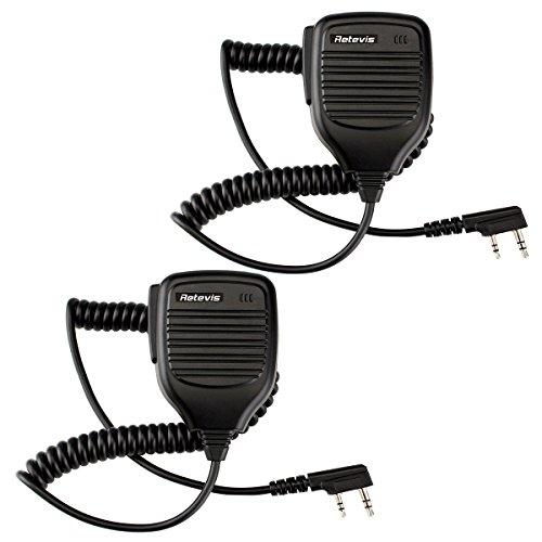 Retevis Handheld PTT Lautsprecher Mikrofon für Retevis H777 RT1 RT3 RT5 RT7 Quansheng PUXING WOUXUN Baofeng Kenwood Funkgerät (1 paar, Schwarz) (Business Zwei-wege-radio)