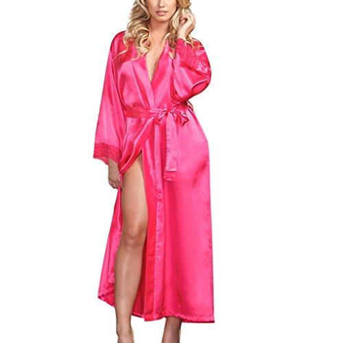 Damen Sommer Bademantel FORH Nachtkleid Dessous Set Lange Ärmel Spitze Erotik Lingerie Offen Negligee Babydoll Kleid Gown Seide Kimono Sexy Morgenmantel (One Size, Pink)