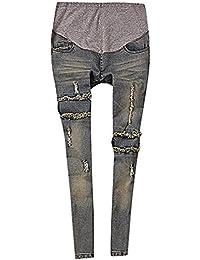 Flora, Damen Schwangerschafts-Jeans Slim Grau Lochflickungen Ausgefranst Mittlere Waschung Volles Hosenbein