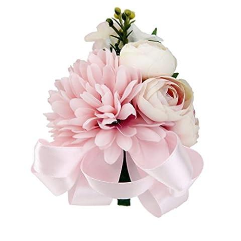 Broche de Mariage Fleur Marguerite Boutonnière pour Marié Mariée Satin Rose