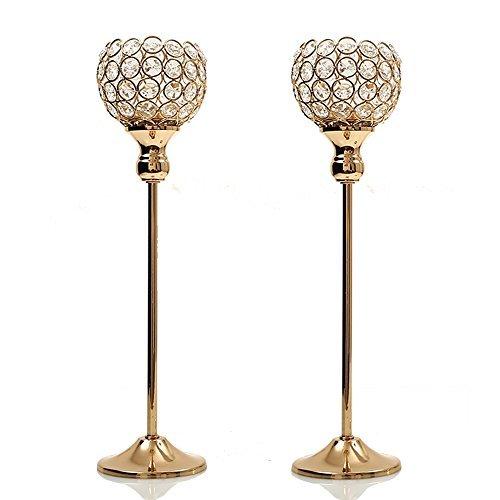 Mittelstücke Tabelle Blumen (VINCIGANT Dekoration Wohnung Modern Kristall Kerzenhalter Set of 2 for Hochzeit Party Esszimmer Tabelle)