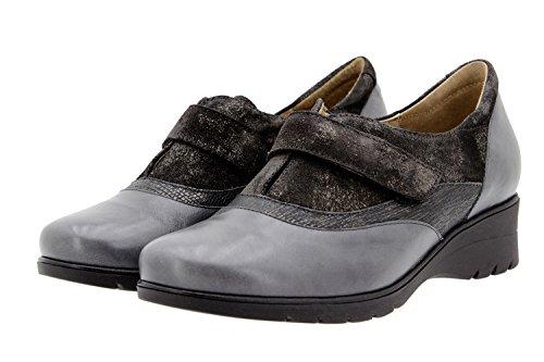 Chaussure femme confort en cuir Piesanto 9956 scratch casual confortables amples Gris