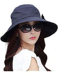 TAGVO Sombreros de sol de verano, mujeres cosidas Bowknot cubo de playa de verano Sombrero de ala ancha plegable con cordón de barbilla desmontable