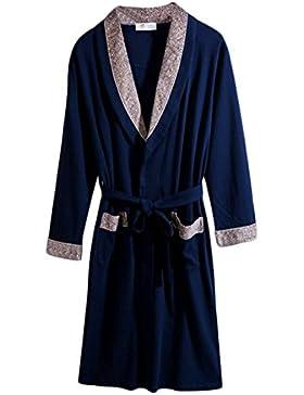 PFSYR Albornoz de los hombres/Primavera y otoño de algodón mangas largas/Pijama largo suelto/Cómodo y suave