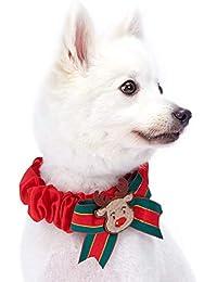Blueberry Pet - Collares o Lazos para Perro, diseño navideño con Hilo metálico