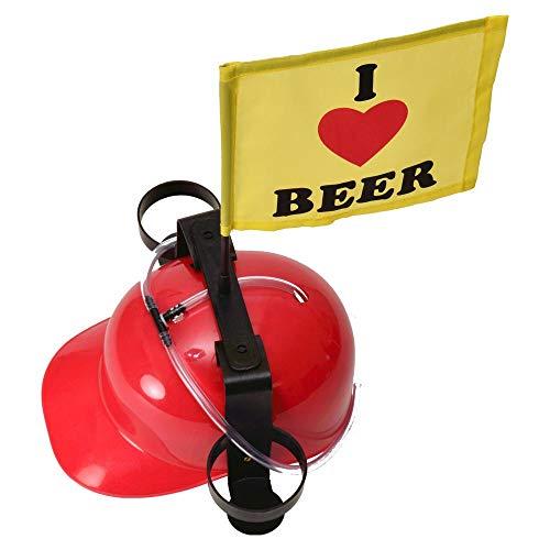 trendaffe I Love Beer Trinkhelm in rot mit Fahne - Bierhelm Saufhelm Helm mit Getränkehalter