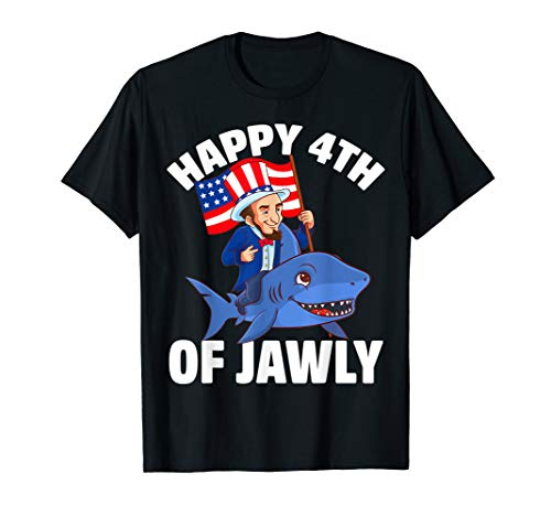 Happy 4th Of Jawly Abe Lincoln Shark USA Flagge Vierte Juli T-Shirt