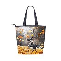 BKEOY Large Hand Shoulder Bag Autumn East European Shepherd Dog Tote Zipper Shopper Bags