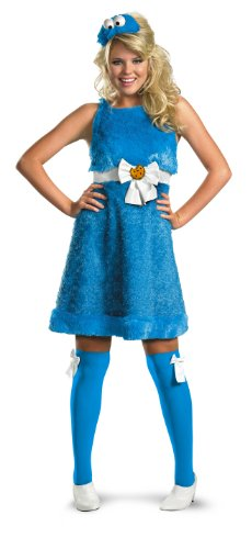 Damen Cosplay Frauen Kleidung Cookie Monster Sesamstraße Partykleid Sexy Kleid Kostüm Gr. Groß - (Cookie Party Monster)